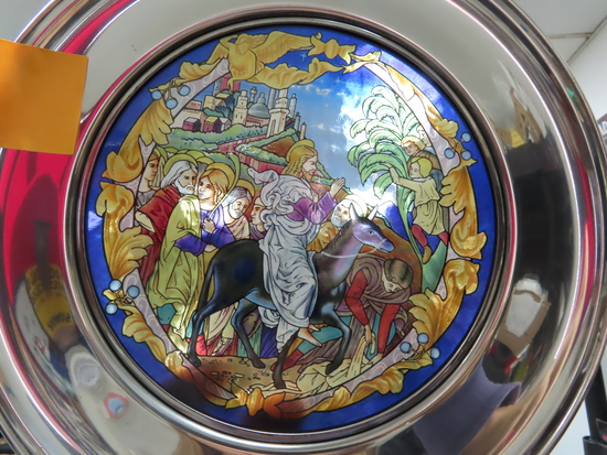 "#2953 The Triumphant Entry 1988 Easter Plate, Jefferson Pewter, 10"" Stained Glass Plate. U.S."