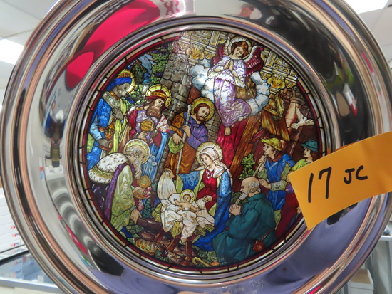 "10"" Pewter and Stained Glass 1984 Christmas Plate: ""o Come let us Adore Him"" St. Anthony St. Louis"
