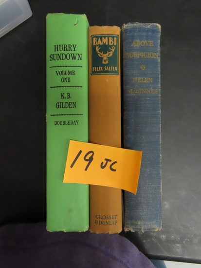 Three (3) Vintage Books For One Money: 1942 Above Suspicion, 1964 Hurry Sundown, 1929 Bambi