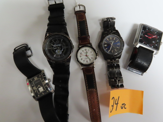Five (5) For One Money: Estate Find, Untested Watches incl. Levi's, Wrangler, Unlisted, Bachrach.