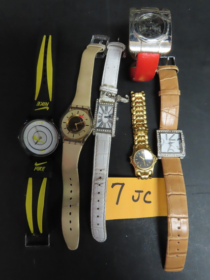 Estate Find, Six (6) Watches For One Money: Nike, Terner, Pierre Cardin, Swach, Juicy C.