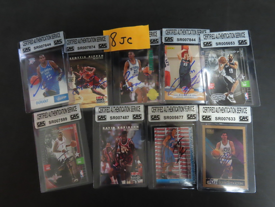 Nine (9) X the Money: Signed Basketball Cards with CAS COAs incl. KD, Scottie, The Admiral, T-MAC,