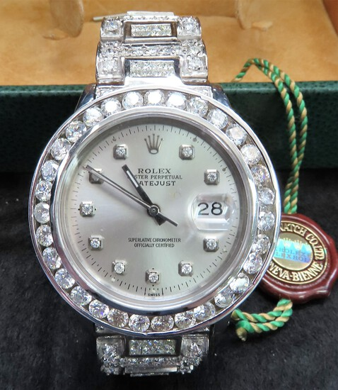 Man's ROLEX Oyster Perpetual Datejust Wrist Watch, stamped and tested 18KT White Gold $41,790 Retail