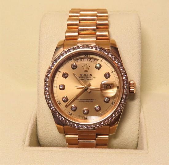 Gents Rolex 18KT Gold DayDate The President Wristwatch, Retail Value $23,000