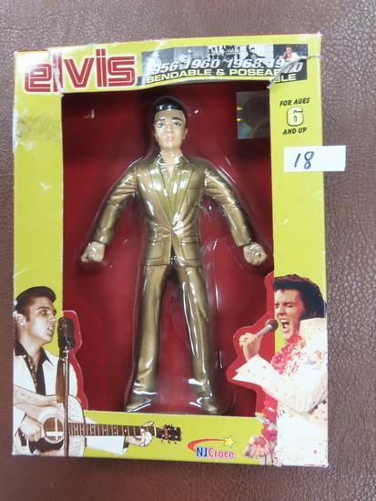 "Vintage Elvis Bendable & Poseable Figure, package has a tear. 6"""