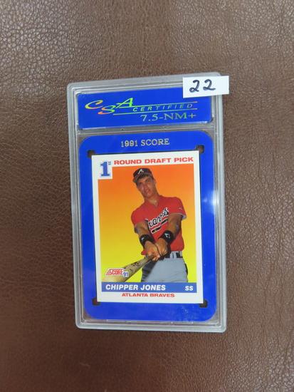 1991 Score #671 Chipper Jones Rookie Card, CSA Certified 7.5 (NM++