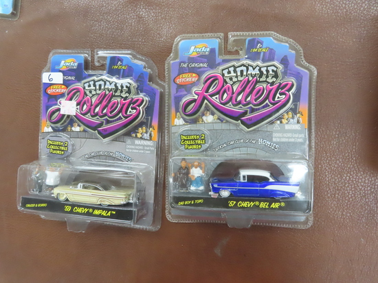 TWO (2) X The Money: HOMIE Rollers incl '57 Bel Air and '59 Impala, Unopened. 2004