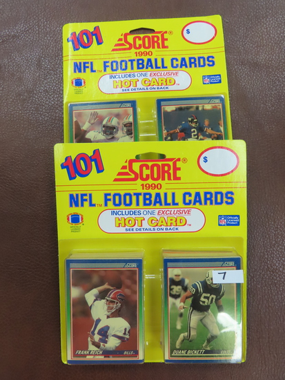 Both For One Money: TWO (2) 1990 Score Football Rack Packs with 101 cards in each. pull a Montana,