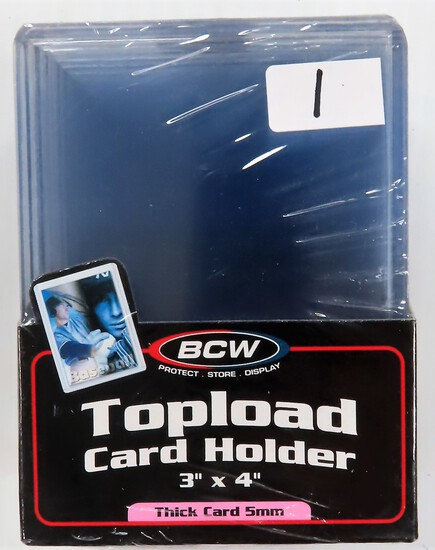 """Unopened pack of Ten 3""""x40"""" Toploaders For Thick Cards (5mm) such as game used material cards."""