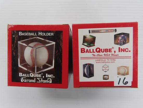 TWO (2) BallQube Baseball Holders For One Money, both Grand Stand. Laneville, Texas