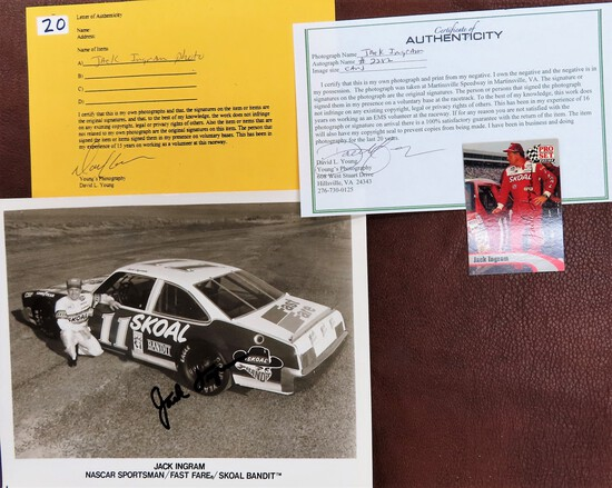 """Jack Ingram Signed 1992 Pro Set Racing Card and 8""""x10"""" with COA from David L Young, just passed. rip"""