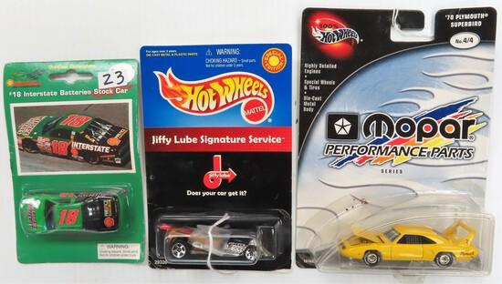 Three (3) For One Money: 2002 Hot Wheel MOPAR '70 Superbird, 2000 Hot Wheels Jiffy Lube, 1996 Bobby
