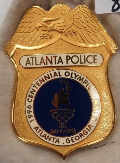 "Beautiful 3.25""x2.5"" Atlanta Police Badge, 1996 Centennial Olympic Games, GA."