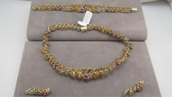 14K y/g 3 Piece Necklace, Earring & Bracelet Set