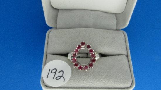 14K w/g Estate 1ct t.w. Ruby Circle ring, 8.4g