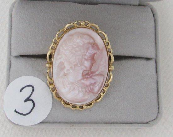 14K y/g Estate Bezel Set 30X20mm Carved Cameo ring