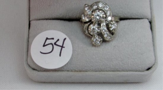14K w/g 18 Diamond Vintage ring, 1.30ct t.w.
