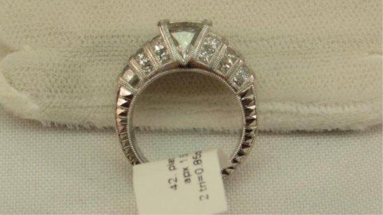Platinum Estate Ring, 1.50ct Princess Cut Center