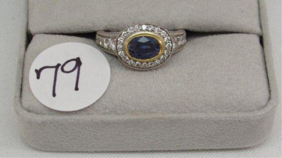 18K two tone Bezel Set Oval Sapphire Center Ring