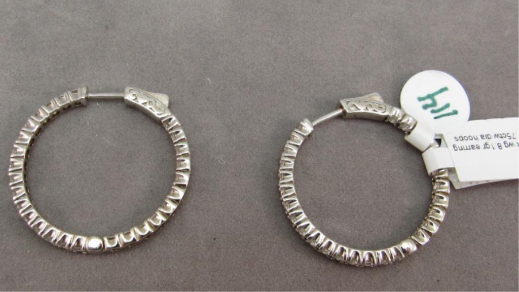 18K w/g Inside/out Diamond Hoop Earrings, 1.75ct