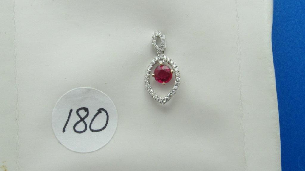 18K w/g .66ct Round Ruby & .24ct t.w. Diamond