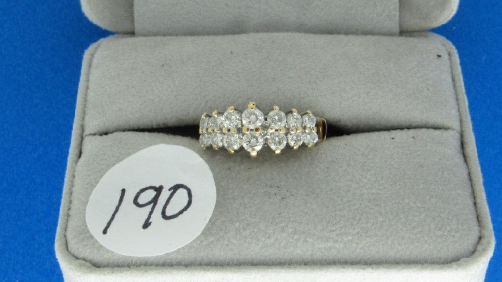 14K y/g 2 row Estate diamond band, .90ct t.w. ,
