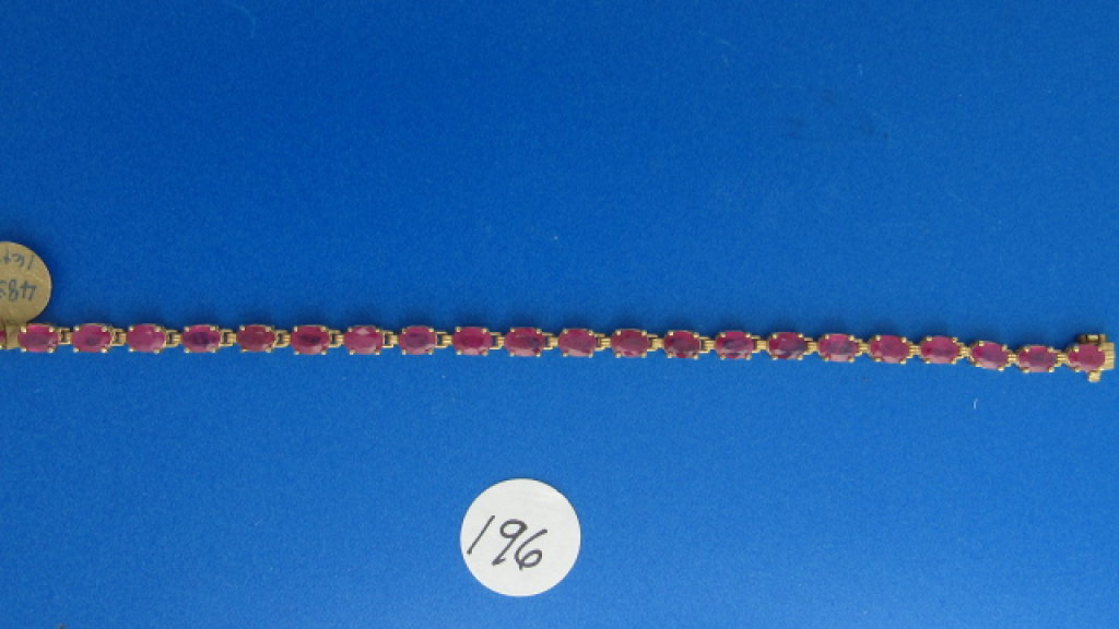 14K y/g Estate 16ct t.w.Oval Ruby Diamond Bracelet