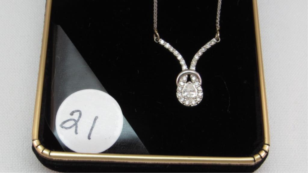 """14K w/g 15"""" Split Chain with .20ct Pear Diamond"""