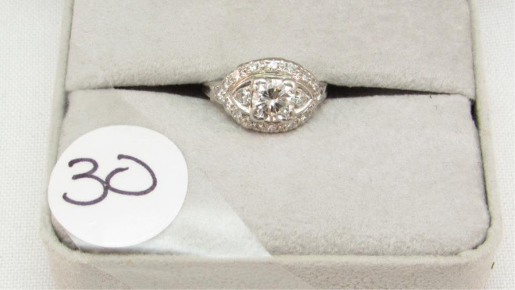 Vintage Platinum ring approx. .75ct Center Diamond