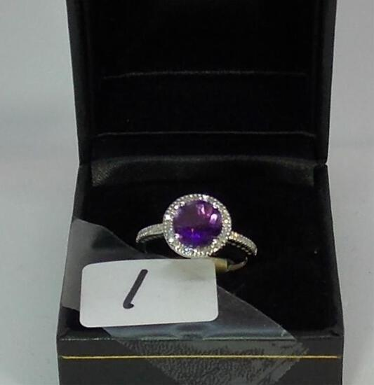 LADIES 10K W/G AMETHYST & .36CT.  T. W. DIA. RING 2.8GR