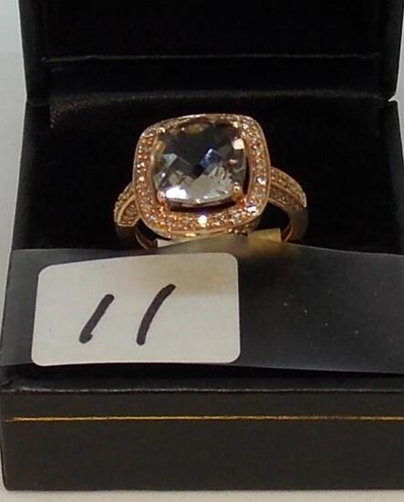 LADIES 14K ROSE GOLD 3.50CT CUSHION CUT MORGANITE