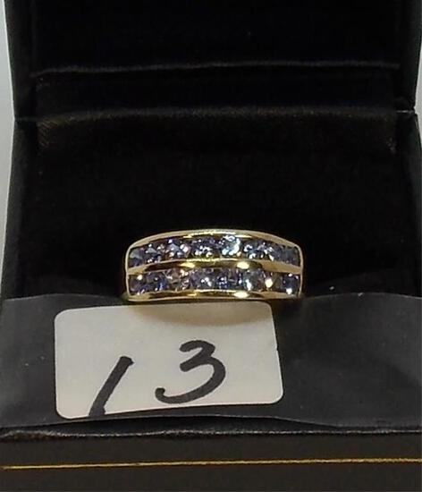 LADIES 10K Y/G .96CT T.W. TANZANITE BAND 1.1GR
