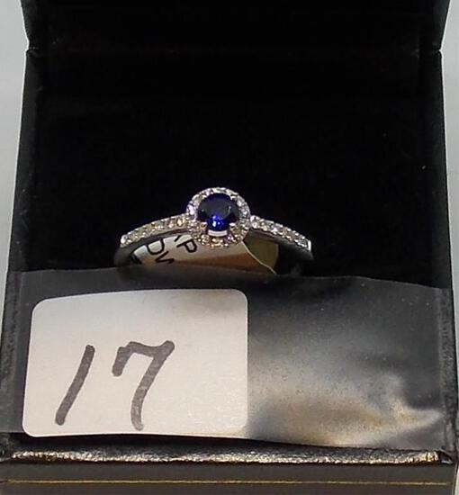 LADIES 14K W/G .33CT. SAPPHIRE .16CT T.W. DIAMOND .49CT T.W. GEM RING 2.1GR