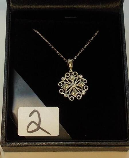 LADIES 14K W/G  .15CT T.W. DIA.OPENWORK DESIGN