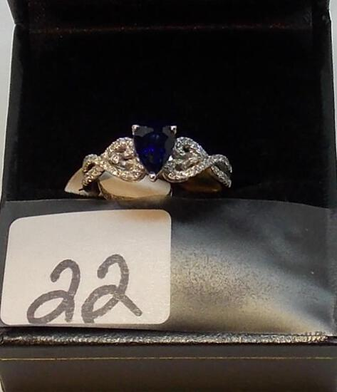 LADIES 18K W/G .50 PEAR SHAPE SAPPHIRE CENTER