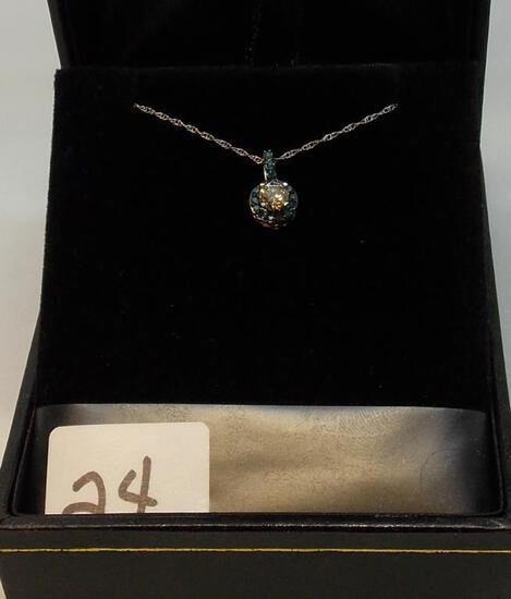 LADIES 14K W/G  .25CT WHITE DIAMOND CENTER SURROUNDED