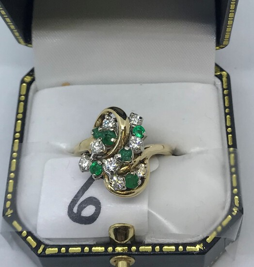 LADIES 14K Y/G .80CT T.W. DIAMOND .60CT T.W. EMERALD