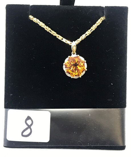 LADIES 14K Y/G ROUND CITRINE WITH 16 DIAMONDS AROUND