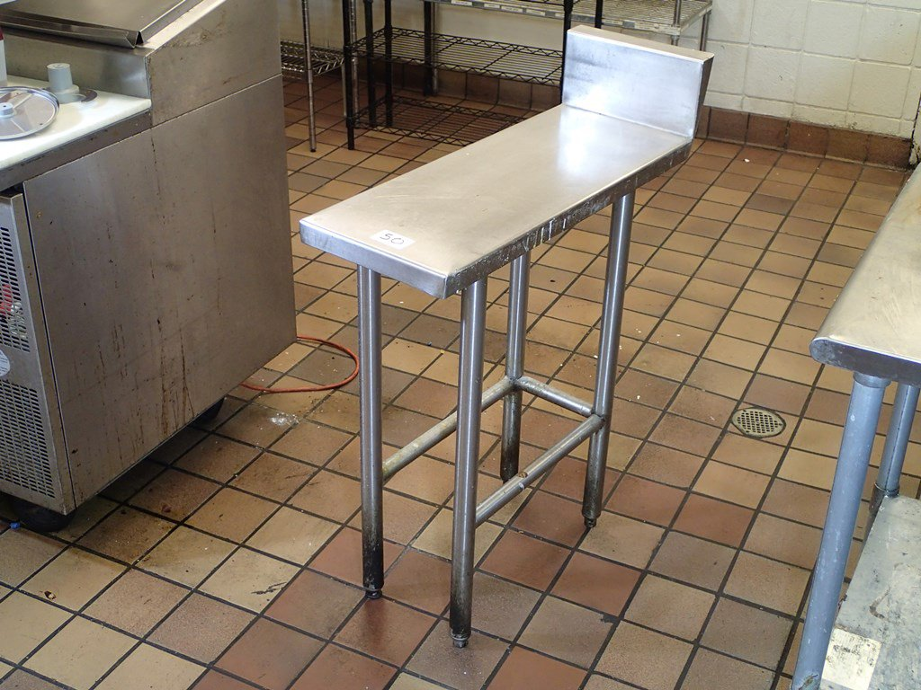 Narrow stainless work table - 12in x 30in top