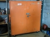 2-door metal storage cabinet on casters - 57in W x 28in D x 65in H