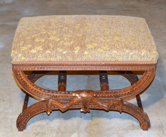 Carved Mahogany Ottoman, Bronze / Gold Upholstered Seat