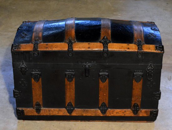 Antique Late 19th-Early 20th C. Oak & Black Steamer Trunk, Recessed Casters
