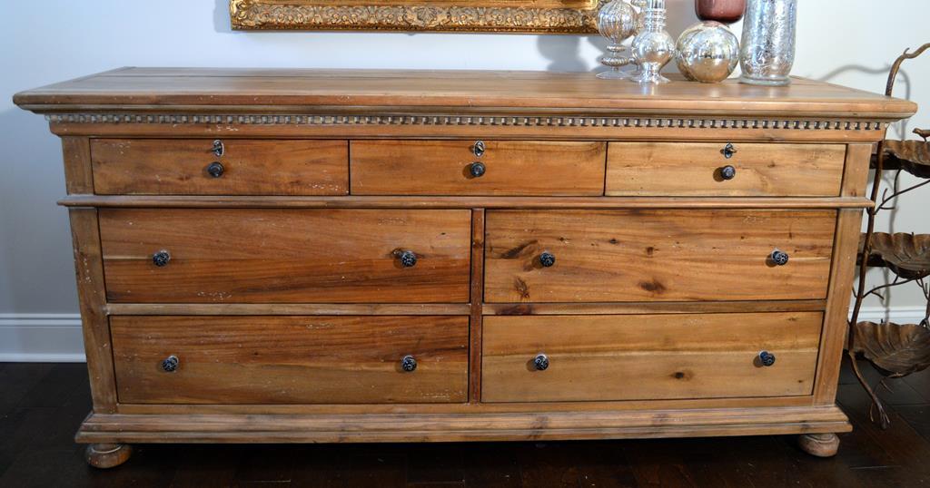 Restoration Hardware St James 7 Drawer Dresser Antiqued Natural Finish