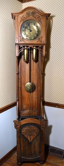 Antique Late 19th --Early 20th C. Art Nouveau Grandfather Clock, Oak Case