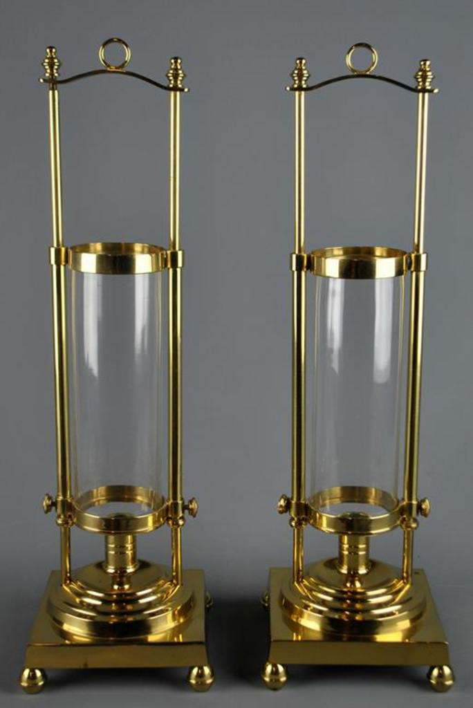 Lot Brass Crystal Hurricane Lanterns Candleholders By