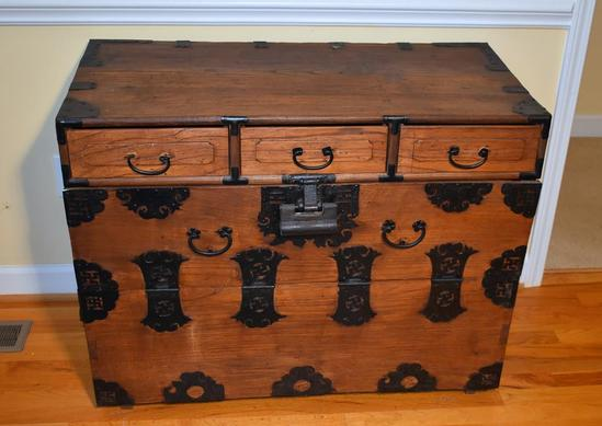 Antique Oak Trunk w/ Cut Iron Strapwork, Swastika Design (Pre-Nazi Indo-Aryan Good Luck Symbol
