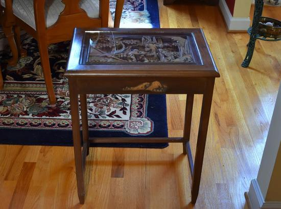 Vintage Korean Side Table w/ Bas Relief Carved Scene, Glass Cover