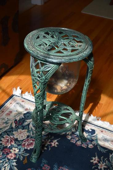 Green Patinated Metal Plant Stand w/ Glass Potpourri Bowl & Shelf