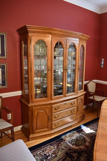 Light Stained Oak 3-Section China Cabinet By Sumter Cabinet Co., Lighted, Mirrored Back