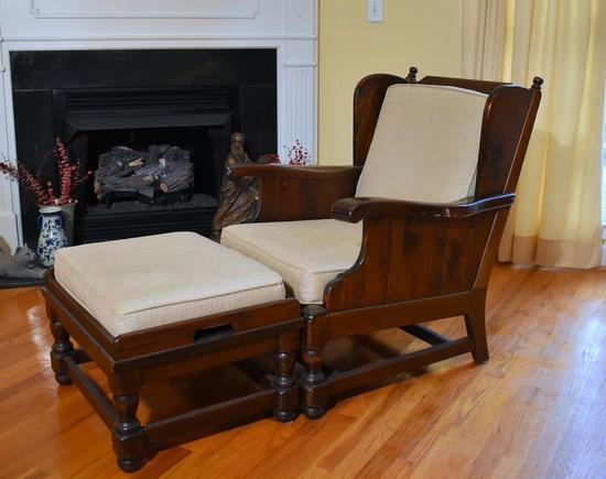 Ethan Allen Traditional Classics Matching Armchair & Ottoman